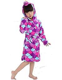 Kinder Weichen Bademantel Comfy Unicorn Flanell Robe Unisex mit Kapuze Geschenk All Seasons Sleepwear
