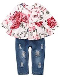 Haokaini 2 Unids/Set Trajes de Conjunto de Trajes de Manga Larga para Bebé Niñas, Top de Estampado Floral + Pantalones Ripped Jeans