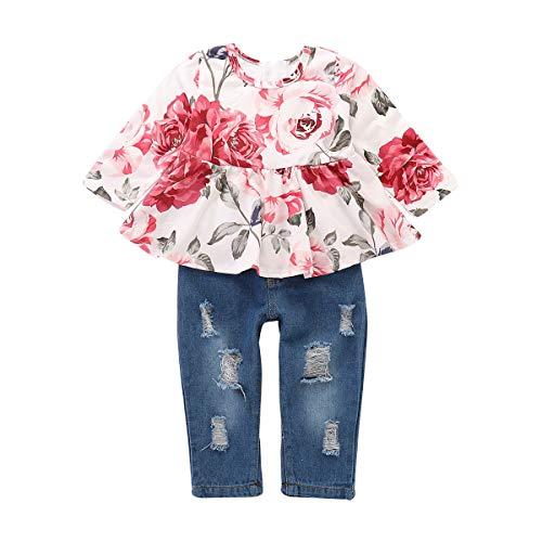 Haokaini 2 Teile/Satz Baby Mädchen Langarm Hosen Outfits Set, Blumendruck Top Shirt + Zerrissene Jeans Hosen (Color : White+Blue, Size : 4t) - Valentinstag-formale Kleid