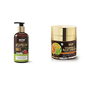 Wow Apple Cider Vinegar No Parabens & Sulphate Shampoo, 300Ml And Wow Skin Science Vitamin C Face Cream - Oil Free, Quick Absorbing - For All Skin Types - No Parabens