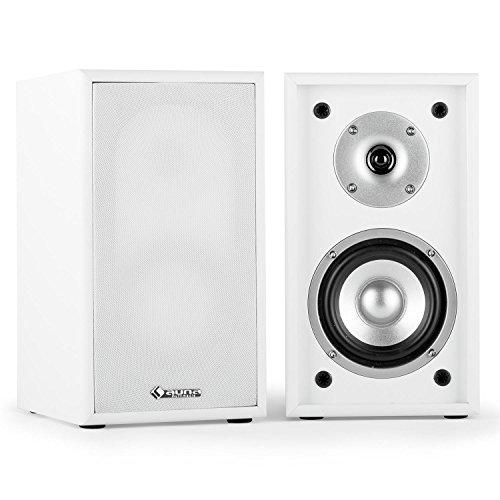 auna Linie 300 SF-WH Regallautsprecher 2-Wege Hifi Lautsprecher Paar (70 Watt RMS, Anschluss-Terminals mit vergoldeten Kontakten, abnehmbare Lautsprecherabdeckung) weiß 500-watt-stereo-system, Bluetooth