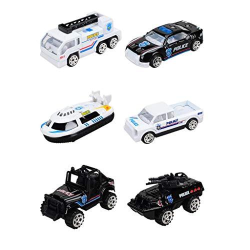 6 Stücke Mini Auto Modell Spielzeug Zurückschieben Fahrzeug Spielzeugautos Offroad LKW Kunststoff Polizei Auto Racing Buggy Auto Kind Auto Spielzeug Geschenk