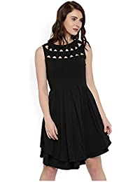 Rare Women Black Fit and Flare Dress (EP1663)