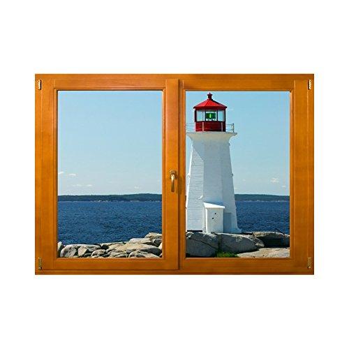 Adesivi trompe l' oeil finestra il faro, l 84cm x h 60cm