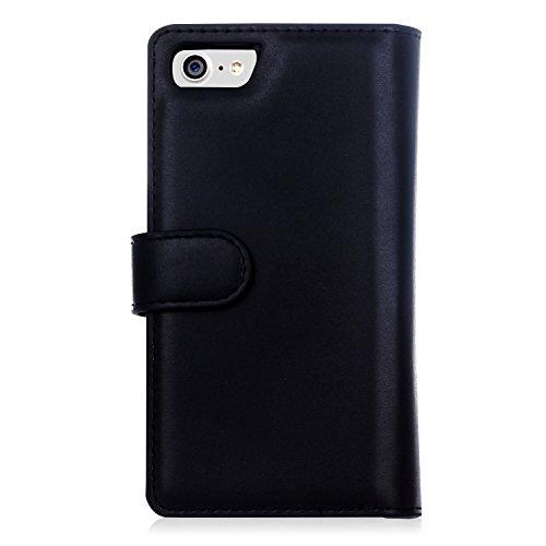 Meimeiwu Alta Qualità Slim Custodia in pelle - Flip Cover Leather Zipper Case Per iPhone 7 Plus - Rose Rosso Nero