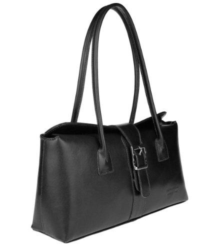 Made in Italy Damen Vera Pelle Leder Tasche Umhängetasche Schultertasche Theatertasche Abendtasche Clutch 36x18x10 cm (BxHxT) Schwarz