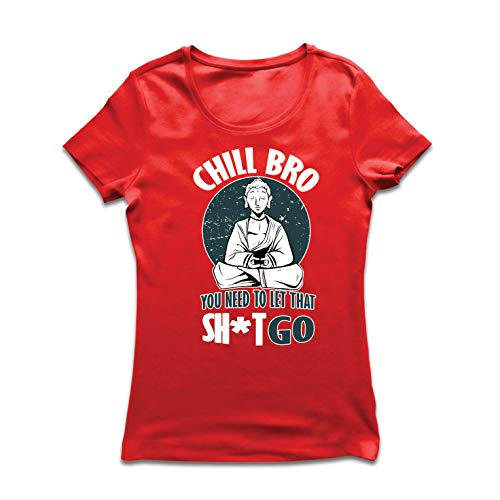 lepni.me Frauen T-Shirt kalter Bruder, Yoga, lustiger Meditationsslogan Buddhas (XX-Large Rot Mehrfarben)