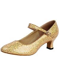 Honeystore Damen's Weicher Boden Mary Jane Glitter Tanzschuhe Rot 38 EU OoQTsl2Pg