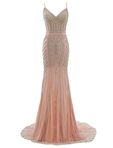 Izanoy Damen Spaghetti Strap Lange Meerjungfrau Tüll Ballkleid mit Luxus Kristall Öffnen Zurück Abendkleider Rosa