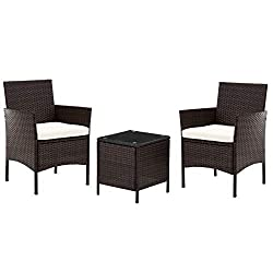 Wicker Rattan Outdoor Garden Furniture Sets with Chairs and Table, Conservatory Balcony Furniture Sets, Coffee Table and Corner Sofa Patio Furniture Set With Cream Cushion (HELSINKI - Set of 3)