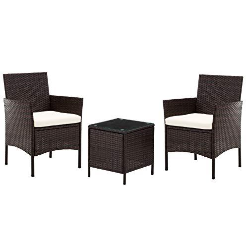 Intimate wm heart 3 set mobili da giardino, set giardino tavolo e sedie,balcone, vimini patio rattan mobili disinvolti per esterno e interno -confezione da 1, marrone