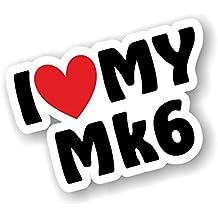 I Luv My Mk6 a forma di cuore, per Escort Fiesta Mk6 Golf ecc Astra vinile auto adesiva, 110 x 75 x 75 mm