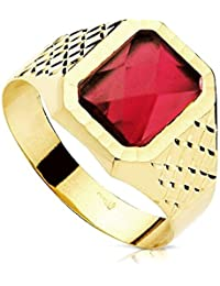 18k Gold Dichtung Herr rotes Spinell 9mm Platz. [AB3072]