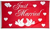 Fahne / Flagge Just Married + gratis Sticker, Flaggenfritze®