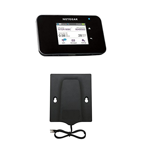 Netgear AC810-100EUS Aircard 810 Mobile Hotspot Router (4G LTE, Cat 11,  600MBit/s, 11ac) schwarz + Netgear Mimo 6000450 Flachantenne (3G/4G,