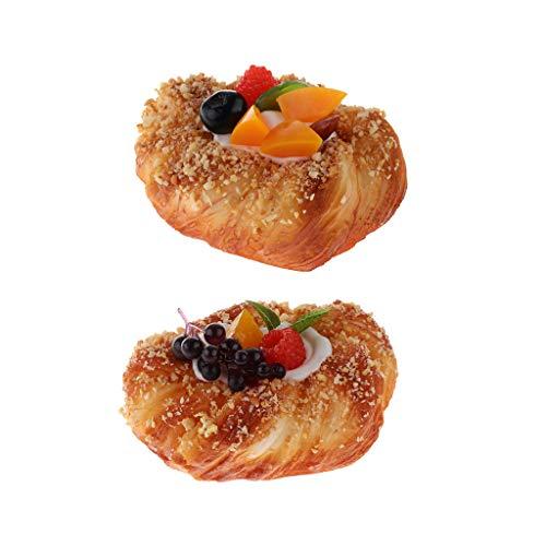 LOVIVER 2 Stile Künstlicher Brotkuchen Mit Obst Realistischer Dessert 2 Obst-dessert