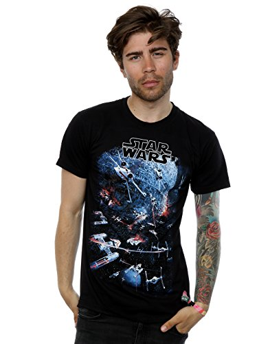 Star Wars Mens Universe Battle T-Shirt Large Black