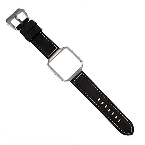 Preisvergleich Produktbild Sansee Luxus echtes Leder Uhrenarmband Armband + Metallrahmen für Fitbit Blaze Smart Watch Fitbit Blaze Strap (schwarz)