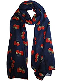 Strawberry Scarf in Navy Blue Ladies Fashion Spot Scarves