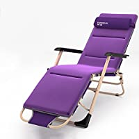 ZHIRONG Adjustable Sun Loungers/Portable Folding Chair/Summer Beach Chair/Office Lunch Chair/Balcony Chair/Garden Loungers Removable Headrest/Removable Mat (Color : Purple)