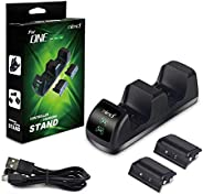 Xbox One Controller Charger with LED Indicator, Dual Docking/Charging Station with 2 x 1200mAh Rechargeable Battery Packs fo