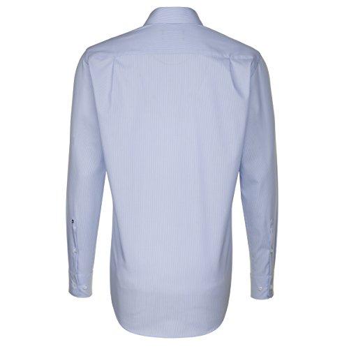 SEIDENSTICKER Herren Hemd Modern 1/1-Arm Bügelfrei Streifen City-Hemd Kent-Kragen Kombimanschette weitenverstellbar hellblau (0011)