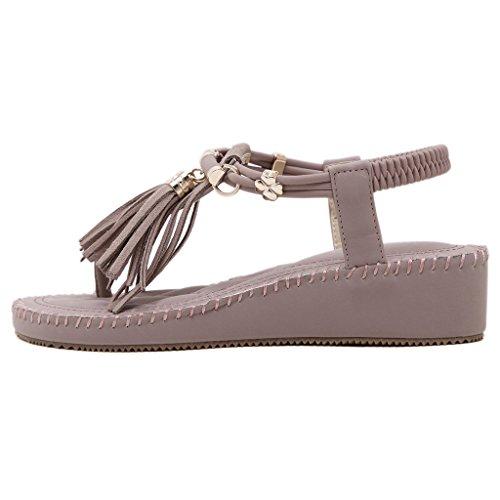 Eagsouni Femmes été Bohême Mode Sandale Chaussures Talon Compensée Soirée Violet