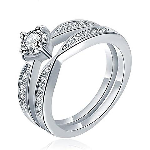 Da donna Platino/18/oro rosa cristallo placcato oro giallo 18pavimentazione set coppia anelli fidanzamento