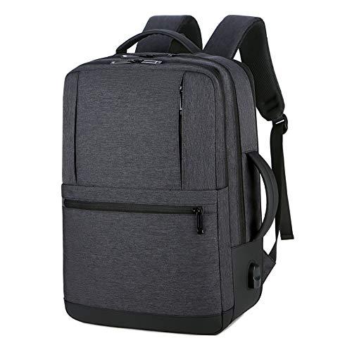 JHHXW Rucksack Große Kapazität Erweiterbar Reiserucksack USB Multifunktionale wasserdichte Business Männer Laptops Rucksäcke (Color : Black) - Erweiterbar Aufrecht Tasche