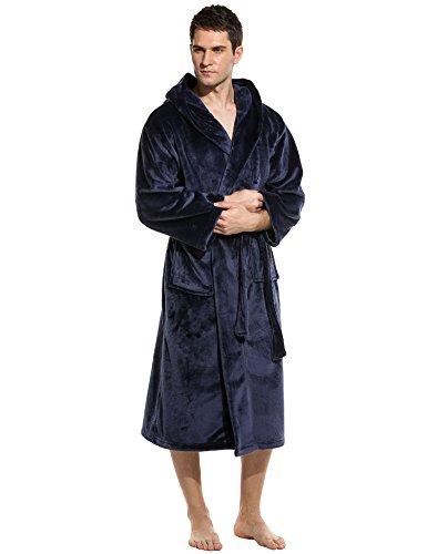 Unibelle Herren Bademantel Lang Saunamantel Morgenmantel Nachtwäsche Robe Mit Kapuze 1-Navy Blau