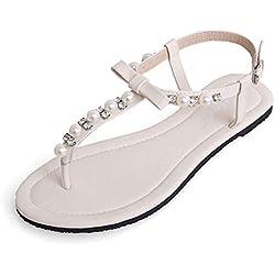 Calzado De Mujer Zapatos De La Playa De Bohemia De Abalorios Sandalias Del Dedo Blanco