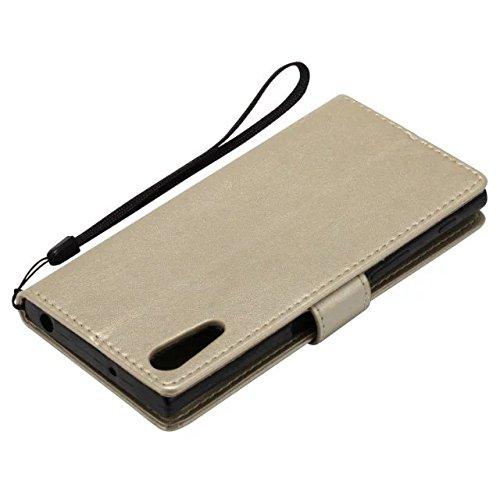 Sony XZ Case, Embossing gepresste Blumen Katze und Baum Muster Solid Color PU-Leder Tasche weichen Silikon-Cover Flip-Stand Geldbörse mit Lanyard für Sony XZ ( Color : 8 , Size : Sony XZ ) 9