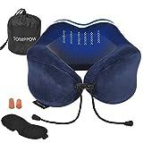 Tomppow Cuscino da Viaggio per Collo, a U, in Memory Foam, con Testa e Collo, Supporto 360 Perfetto per l'uso in Aereo a casa Blu