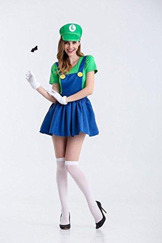 WLM Spiel Uniform, Rollenspiel Super Marie Halloween Kostüm, Mario Kostüm,Grün,XXL