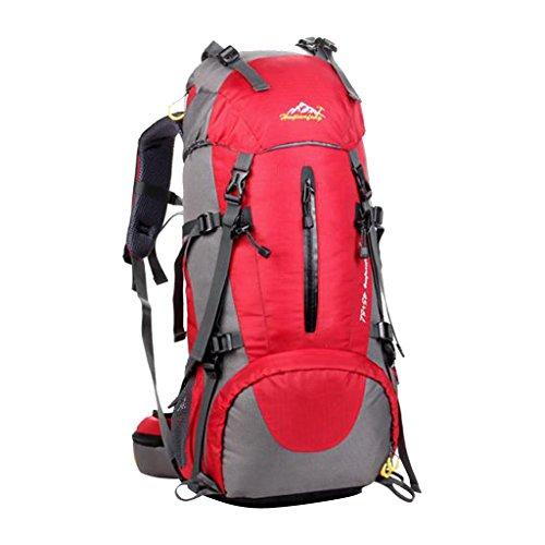 Generic 50 Liter Wanderrucksack, Wasserdichter Rucksack, perfekt für Wander, Klettern, Bergsteigen, Radsport - Reiserucksack Rot