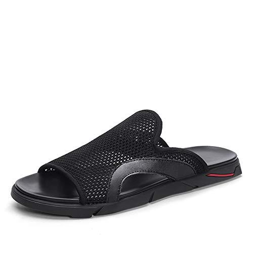 HILOTU Sommer Mode Hausschuhe Für Männer Slip Auf Stil Zehenring Stil Strand Mesh Stoff Leder Hausschuhe (Color : Schwarz, Größe : 44 EU) Bungee-slip