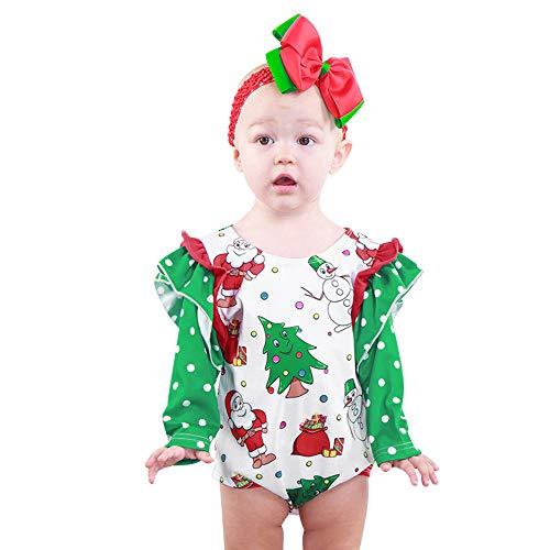 Rosennie_Baby Strampler Mädchen Outfits Sets Kind Spielanzug Jungen Overalls Weihnachten Langarm Santa Print Jumpsuit Baby Bekleidungsset Babystrampler für Neugeborene Kleinkinder(Grün,90)
