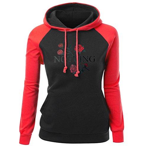 NiSeng Femmes Sweats À Capuche Hiver Blouse À Manches Longues Imprimé Floral Sweatshirt Hooded Tops Casual Pullover Sweatshirt Rouge&Noir