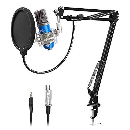 TONOR XLR zu 3.5 mm Kondensator-Mikrofon Kit Schall Podcast Studio Rundfunk & Aufnahme Microphone für Computer mit Popschutz und Verstellbarem Mikrofonhalter