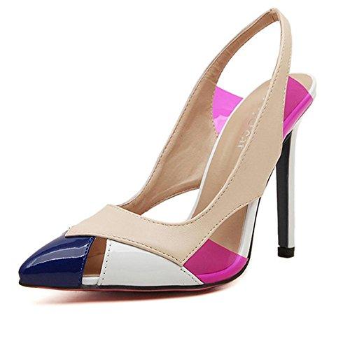 YMXJB Europe et couleurs mélangées hollow point femme sandales hauts talons apricot