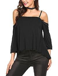 007f8ace31b8 Parabler Damen Strappy Schulterfrei Kurzarm Tops Strech Shirt Casual Top  Bluse T-Shirt Asymmetrisch A