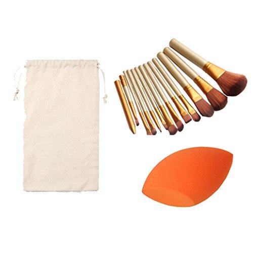 Susenstone 1PC Éponge Bouffée + Trousse de Maquillage 12PCs Cosmétiques Maquillage Pinceaux + 1PC String