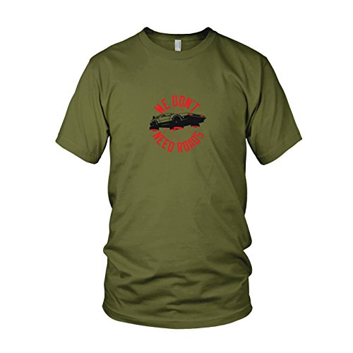 We don't need Roads - Herren T-Shirt, Größe: L, Farbe: (Die Mcfly Marty Kostüm Zurück 3 Zukunft In)