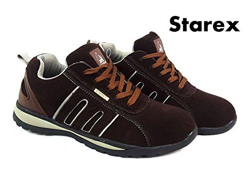 Preisvergleich Produktbild Herren Sicherheit Turnschuhe Stiefel Arbeit Stahlkappe Hiker Knöchel, Grey/Brown Suede, 11
