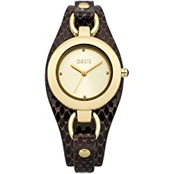 Oasis Women's Quartz Watch with Gold Dial Analogue Display and Brown Leather Cuff B1398