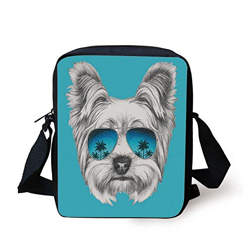 Yorkie,Yorkshire Terrier Portrait with Cool Mirror Sunglasses Hand Drawn Cute Animal Art,Blue White Print Kids Crossbody Messenger Bag Purse