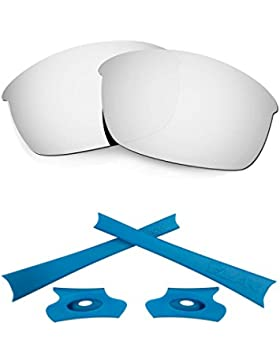 HKUCO For Oakley Flak Jacket Silver Polarized Replacement Lenses And Blue Earsocks Rubber Kit
