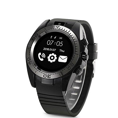 Changsha Hanguang Technology Ltd Hangang Smart Uhr Handy-armbanduhr Bluetooth Sport Smartwatch Herren Android iOS Kamera tragbar SIM TF Karte IOS Smartwatch (schwarz)