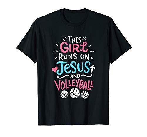 Jesus und Volleyball Mädchen T-Shirt -