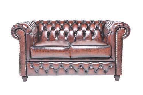 Auténtic Chesterfield Brand -Sofá Chester Brighton Marrón Gastado- 2 plazas -Hecho artesanal...